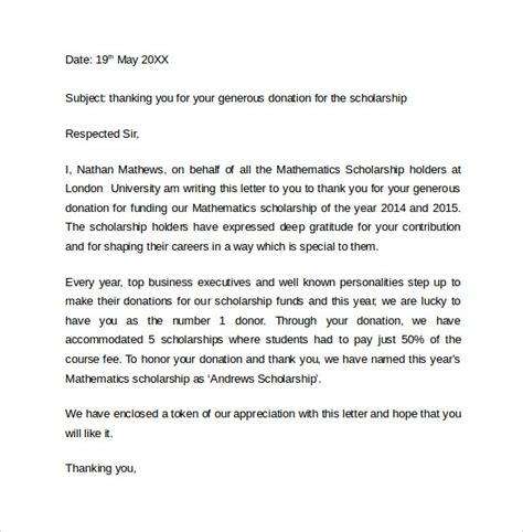 sle thank you letter for scholarship 9 free documents in pdf word