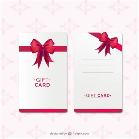 free gift card design template gift card template with ribbon vector free