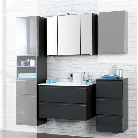 spiegelschrank 3 teilig bad badm 246 bel set in anthrazit hochglanz 3d spiegelschrank 3