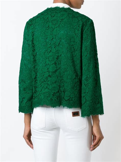 Lace Jacket Green lyst dolce gabbana embellished lace jacket in green