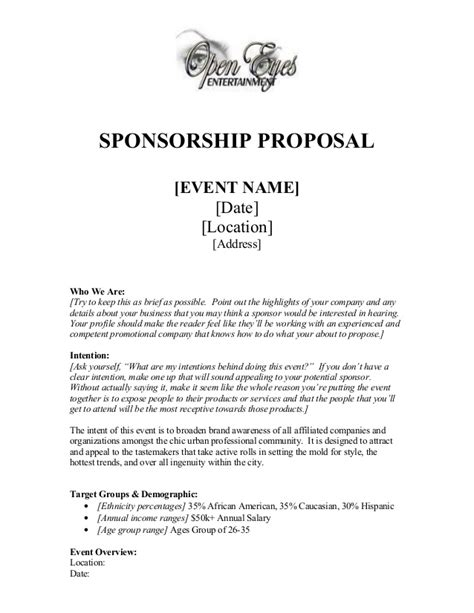 Letter For Sponsorship For Event Sponsorship