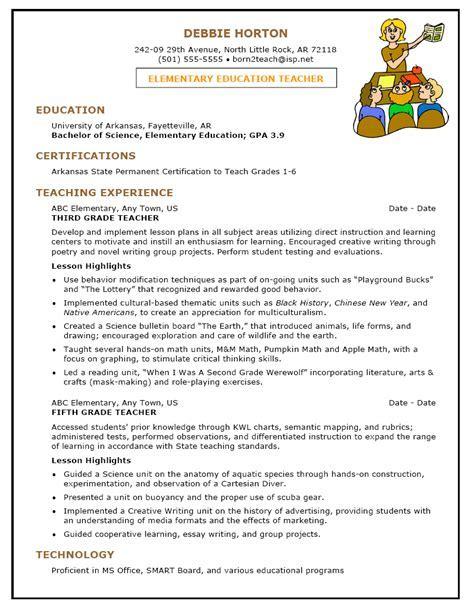 sample teacher resume template