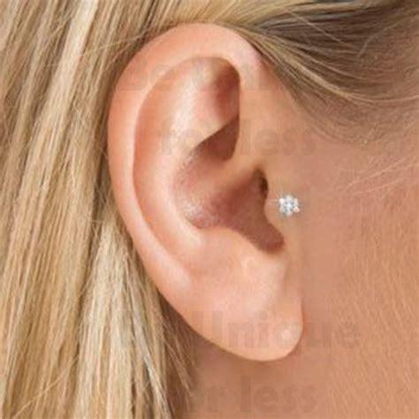 flower gem tragus helix bar cartilage ear earring