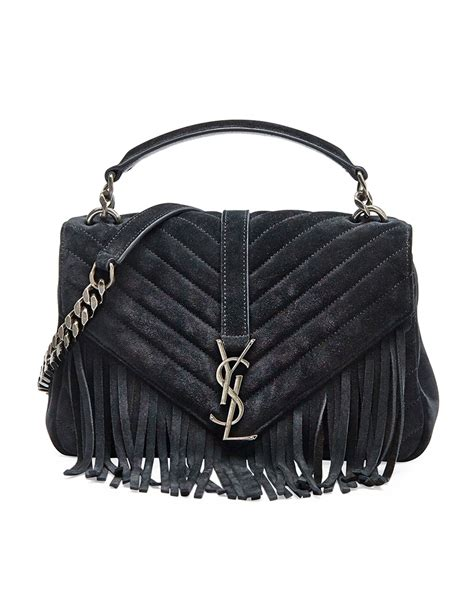 lyst saint laurent monogram fringed college shoulder bag