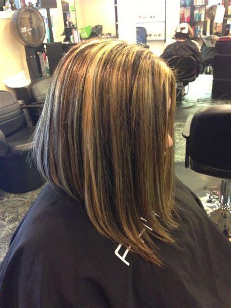 inverted bob and blonde or brunette blonde and brown highlights inverted long bob hairdos i