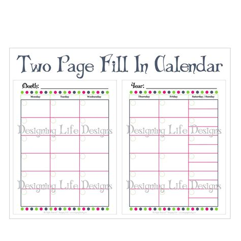 calendar template 2 months per page 69 infantry