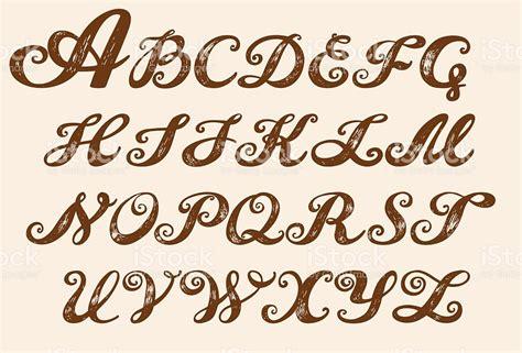 calligraphy alphabet typeset lettering stock vector art