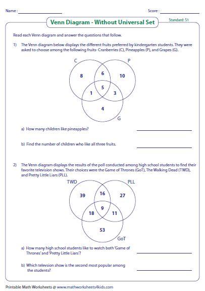 three set venn diagram problems venn diagram word problems worksheets three sets