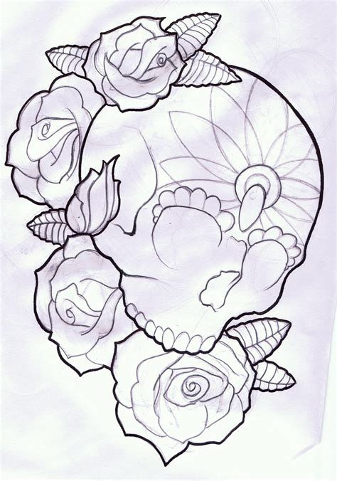 roses sugar skull outline tattoo designs real photo
