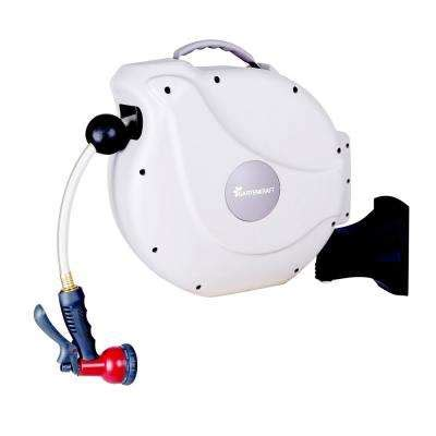 retractable garden hose reel wall mount hose reels storage watering irrigation the home depot