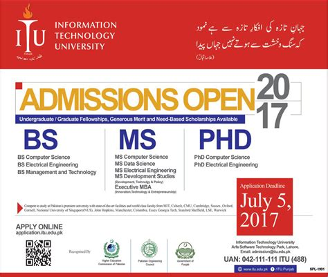 Mba Ms Computer Science by Admission Open In Information Technology Lahore
