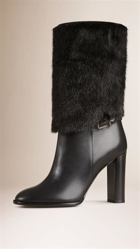 burberry mink fur and leather boots in black lyst