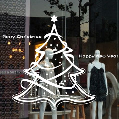 merry tree new year stores glass window ornament