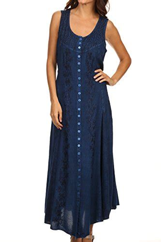 Dress Abu Kombinasirayon sakkas 15221 floral embroidered sleeveless button up rayon dress blue 1x 2x buy
