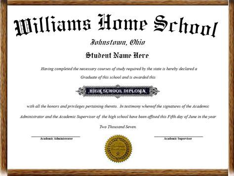 Home School Diplomas Homeschool High School Diploma Template