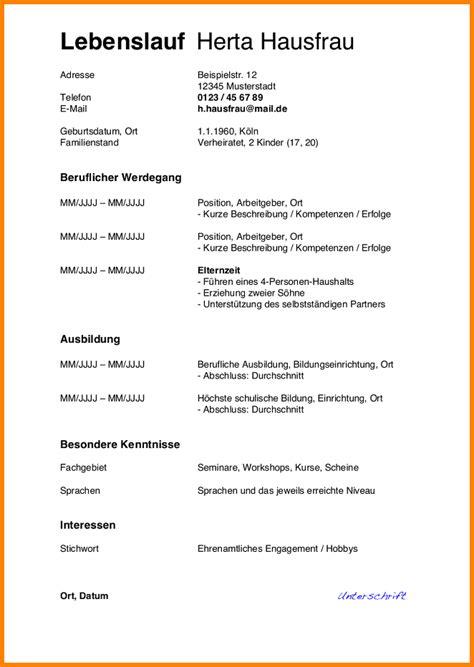 Lebenslauf Vorlage 2014 6 Tabellarischer Lebenslauf Muster 2014 Resignation Format