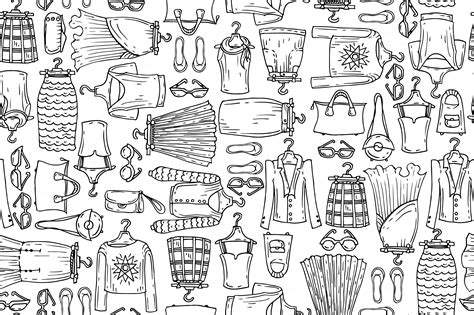 clothes pattern market pattern with sketches of clothes patterns on creative market