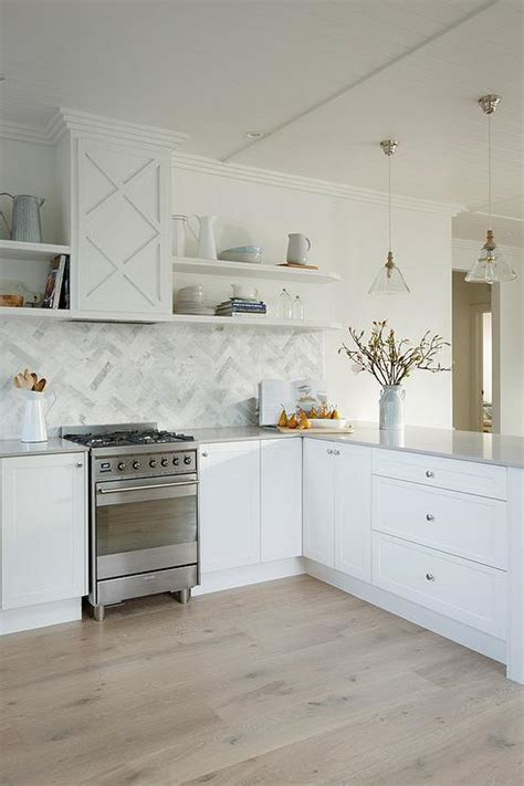 Gray Caesarstone Kitchen by Beautiful Kitchen Features White Shaker Cabinets Paired