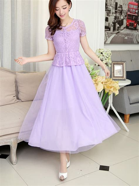 Dress Pesta Ungu dress pesta brokat cantik model terbaru jual