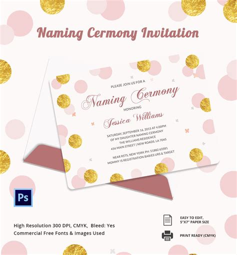 Naming Ceremony Invitation Templates Free 37 naming ceremony invitations free psd pdf format