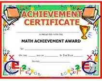 Math Award Template by Image Gallery Math Award Certificate