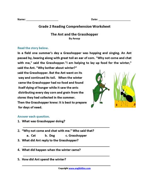 Free Reading Worksheets For 2nd Grade