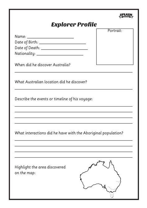 Free History Worksheets For Middle School by Free Fleet Explorer Profile Worksheet Splash