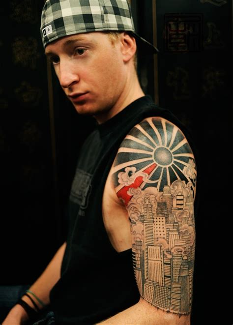 sun sleeve tattoo designs rising sun ideas city scapes
