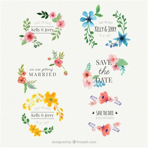 stylish printables watercolor clipart wedding stationery flower vectors photos and psd files free download