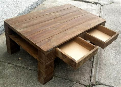 Wooden Pallet Coffee Tables Diy Wood Pallet Coffee Table With Drawers Pallet Furniture Diy