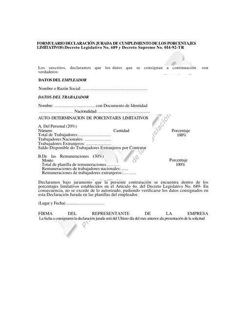 declaracion jurada personal requisitos para la contrataci 211 n de personal extranjero