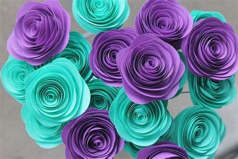 teal and purple decorations possible wedding colors teal and purple paper rosette