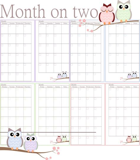 printable 6 month planner 2015 6 best images of filofax printable month on two