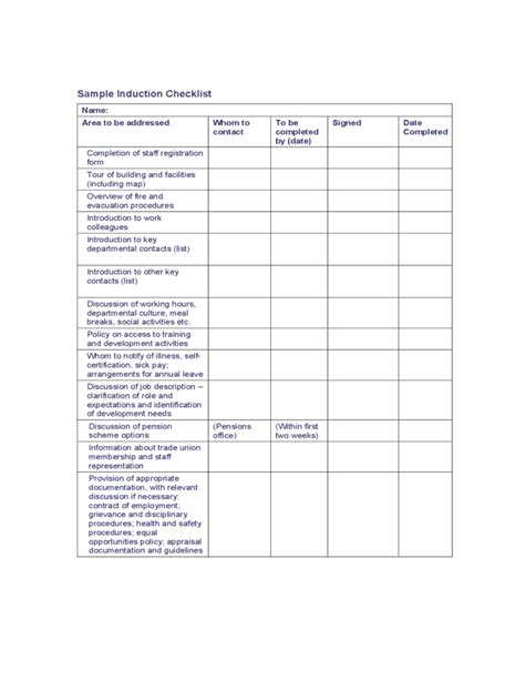 sle induction checklist free download