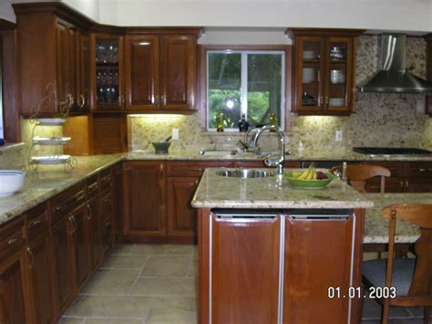 Century Kitchen Cabinets by Fancy White Marble Countertop Also Mahogany Cabinets Set
