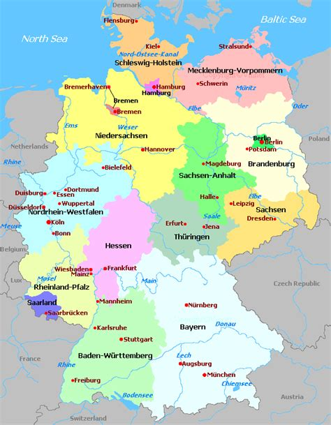 map germany regions deutschland regionen karte