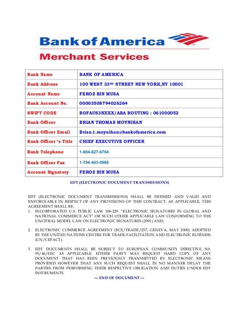 Bank Of America Beneficiary Letter Of Boa Merchant Account Payoneer