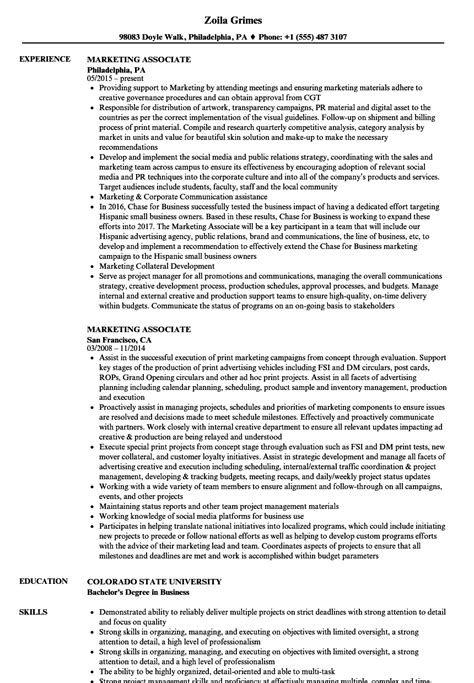 Marketing Associate Resume by Marketing Associate Resume Sles Velvet