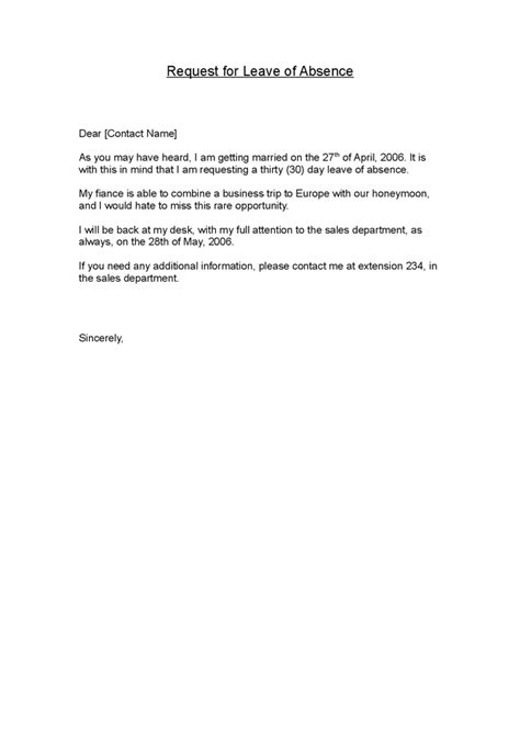 Request Letter Sle For Leave Of Absence Leave Of Absence Request Letter Sle
