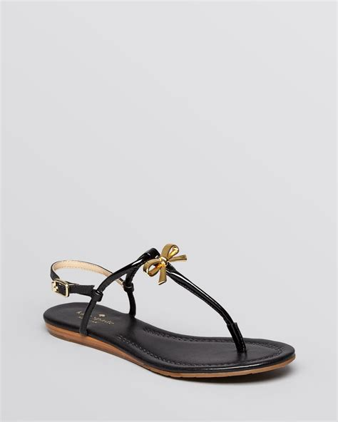 black bow flat sandals kate spade flat sandals tracie bow in black lyst