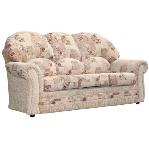 sofa settee or couch 3 seater sofa roma floral patterned beige fabirc settee