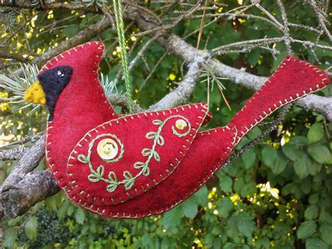 wool felt cardinal ornament northern cardinal red bird