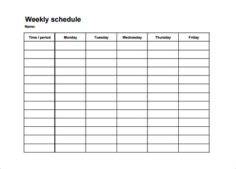 College Schedule Template 7 Free Sle Exle Format Download Free Premium Templates College Class Schedule Template