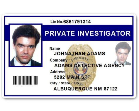 Detective Identification Card Template by Investigator Pvc Id Card Pfp022