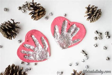 Red Gold And Silver Christmas Decorations Salt Dough Handprint Ornament The Easiest Way To Make