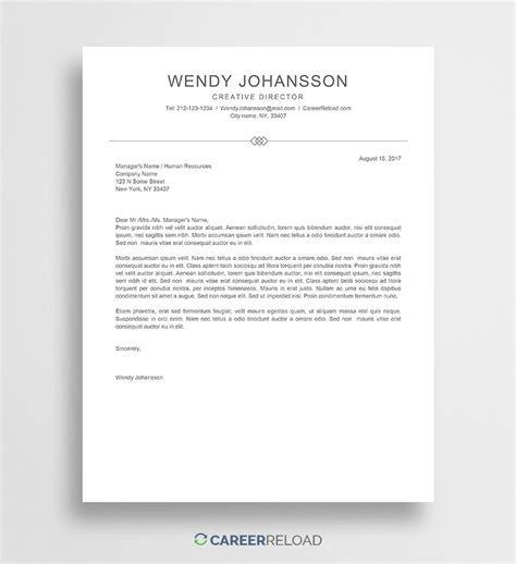 cover letter template wendy career reload