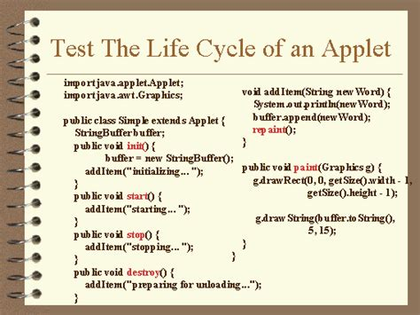 java applet test test the cycle of an applet