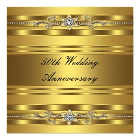 Golden Wedding Anniversary Cards Uk by Gold Golden 50th Wedding Anniversary Card Zazzle