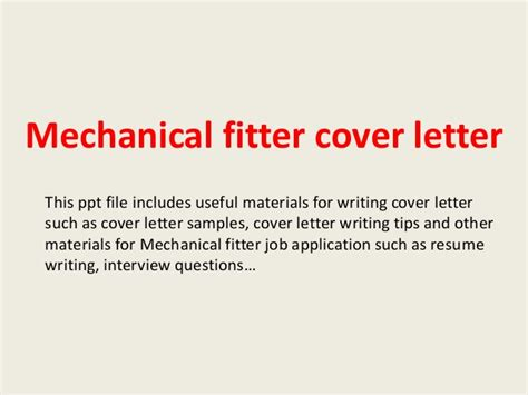 Mechanical fitter cover letter