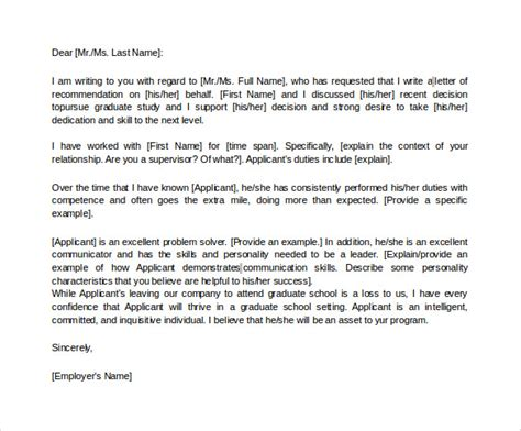 Mba Grad School Letter Of Recommendation by 38 Sle Letters Of Recommendation For Graduate School